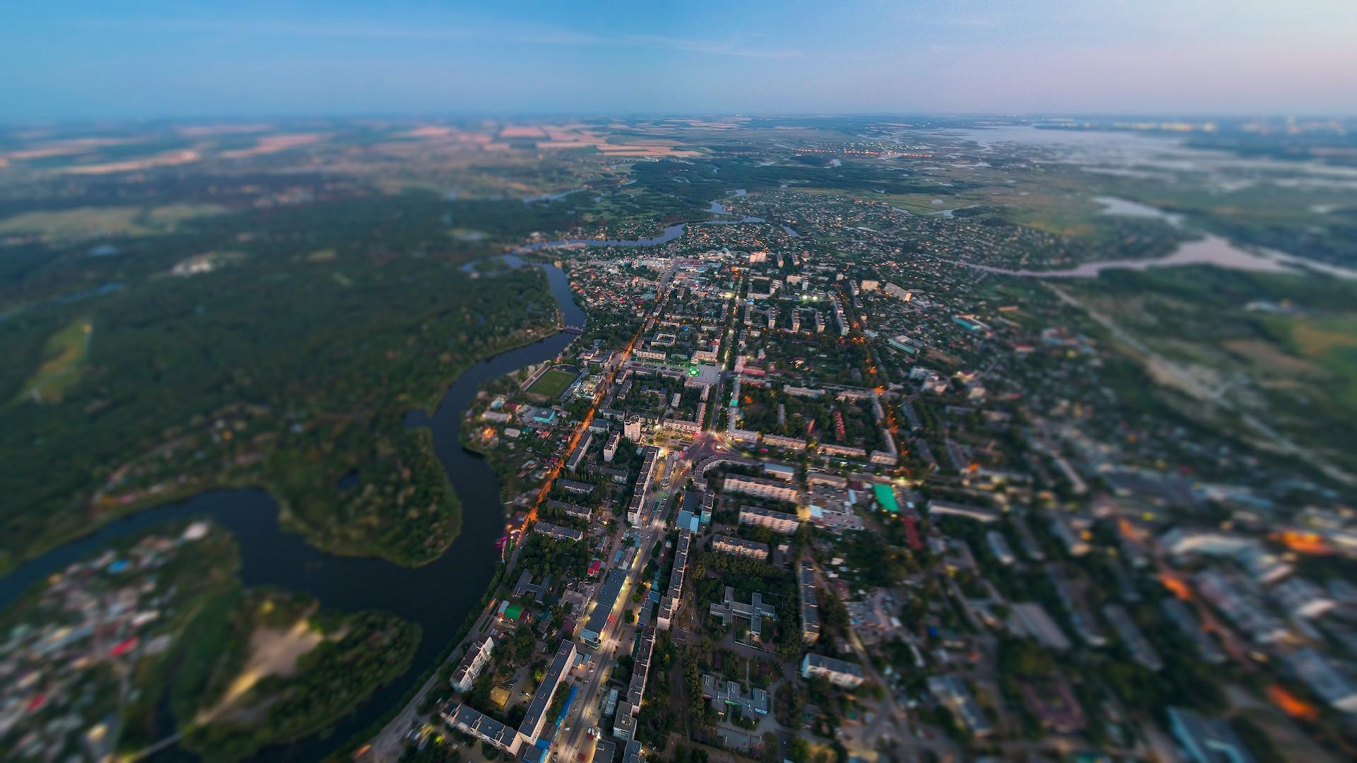 Вечерний город с высоты 500м
