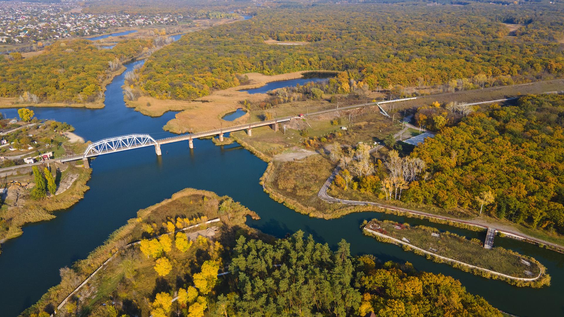 ЖД-мост через Самару в районе Вороновки, октябрь 2020